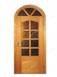 Wooden Door Closed Natural Wooden Door With Glass Isolated U2014 Stock Photo