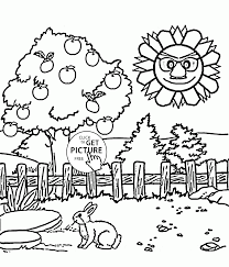 rabbit basking in the sunlight coloring page for kids seasons