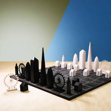 skyline chess set with black london map board by skyline games