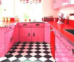 pink retro kitchen collection checkered floor decor collection