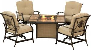 Hanover Patio Furniture Traditions 5 Piece Outdoor Fire Pit Table Set