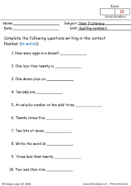 primaryleap co uk spelling numbers worksheet