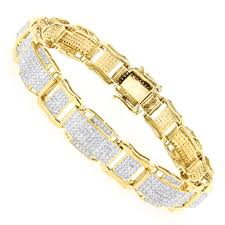 jewelry man gold bracelet images Mens gold bracelet with diamonds 10k 3 44ct jpg