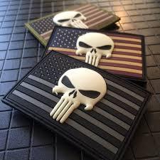 American Flag Skull Glow In The Dark Punisher Skull U0026 American Flag Patch U2013 American