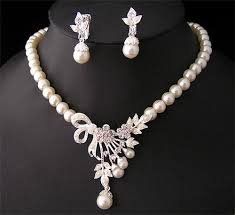 diamond pearl necklace images 2018 white diamond pearl necklace earrings jewelry set bridesmaid jpg
