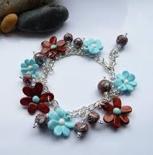 handmade flower bracelet images Handmade polymer clay aqua copper flowers beads bracelet jpg