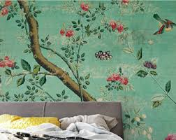 wallpaper with birds chinoiserie wallpaper etsy