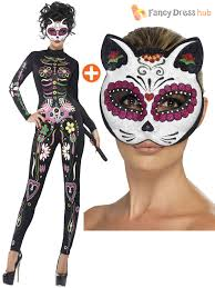 ladies sugar skull cat jump suit halloween fancy dress day of the