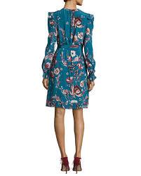 roberto cavalli forbidden fruit silk long sleeve belted dress blue