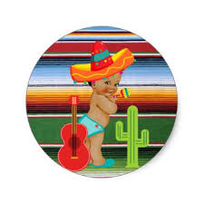 mexican baby shower guitar gnome classic sticker zazzle