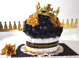 Royal Crown Centerpieces by Black U0026 Gold Diaper Cake Crown Centerpiece For Prince Baby