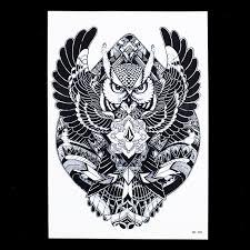 1 piece waterproof decal geometry flying owl tattoo design hb398