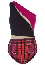 Brit Remix Fuchsia And Black Tartan Print Asymmetric Swimsuit La