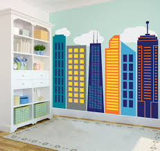 bold colorful geometric city skyline wall decal custom vinyl