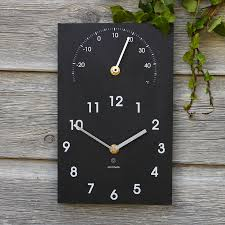 eco recycled outdoor clock and thermometer by ashortwalk
