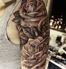 collection of 25 black n white flowers on half sleeve