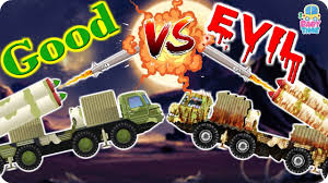rocket launcher war good vs evil scary vehicles for kids