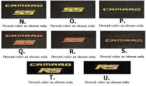 camaro logos yellow orange logo embroidered floor mats now available ss rs