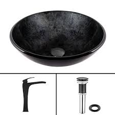 vigo glass vessel sink in gray onyx and blackstonian faucet set in