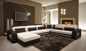 modern living room design with black and white leather u shaped