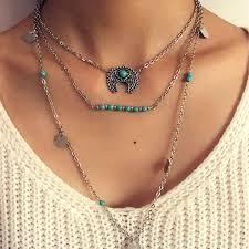silver necklace woman images Wholesale boho vintage bohemian moon pendant necklace simple jpg