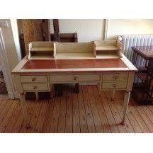 bureau ancien en bois bureau ancien en bois massif blanc et marron vintage bureau ancien