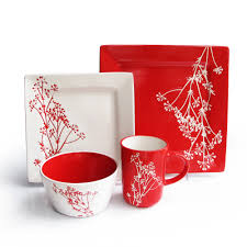 dining room blossom branch dinnerware set in red and white for