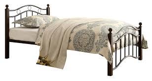 Platform Bed Twin Black Furniture Black Twin Metal Bed Frame With Dark Brown Wooden Base