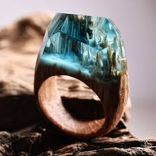 make wood rings images Handcrafted wood resin rings hide magical miniature landscapes jpg