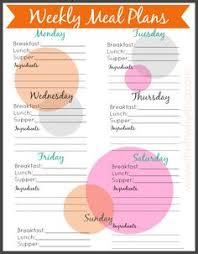 free printable weekly meal planning templates and a week u0027s worth
