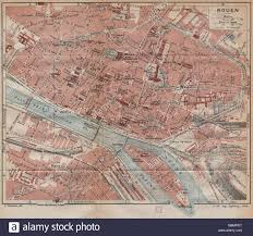 map of rouen rouen vintage town city map plan seine maritime 1920 stock