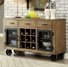 kitchen table with built in wine rack furniture of america cm3829t industrial pine dining table set