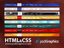 black horizontal html and css dropdown menu psdgraphics