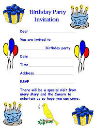 birthday party invitation template word cimvitation