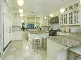 granite countertop painted white cabinets long subway tile