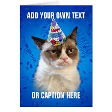 Cat Birthday Cards Grumpy Cat Customizeable Happy Birthday Card Zazzle Com