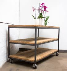 Table With Shelves Charlie Bespoke Reclaimed Scaffolding Boards And Welded Dark Steel