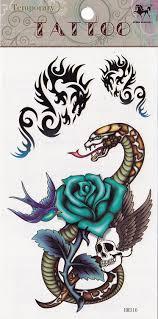 amazon com temporary tattoo snake and skulls and cobra tattoo