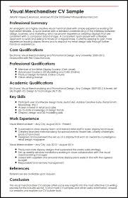 Online Resumes Examples Resume Example by Visual Merchandiser Cv Sample Myperfectcv