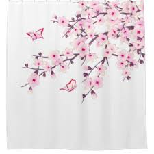 Pink Flower Shower Curtain Cherry Blossom Shower Curtains Zazzle