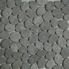 grey sliced pebble mosaic tile wall floor kitchen
