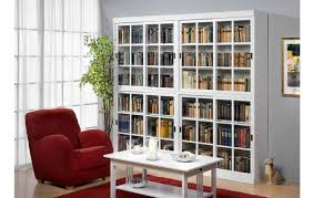 furniture white wooden book cabinet with sliding glass door added