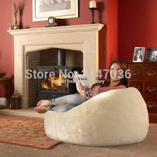 long fur beige beanbag chaise lounge cover extra large big bean