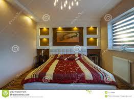 master bedroom interior with spotlights royalty free stock photos