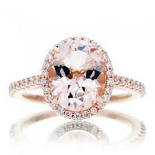 gold and morganite ring morganite ring 10x8 oval cut 14k gold halo diamond engagement