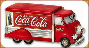 coca cola truck vintage in the city