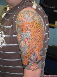 colored japanese tiger on left half sleeve viewer com