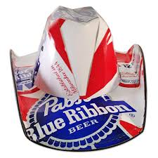 bud light beer box hat pabst blue ribbon brewing company beer box cowboy hat