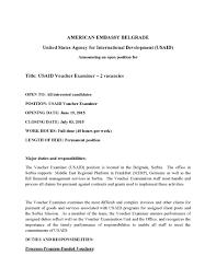 Claims Examiner Resume Vacancy Announcement Usaid Voucher Examiner 2 Vacancies U S