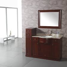 Traditional Bathroom Vanities And Cabinets Simple And Neat Design Ideas Using Rectangular Brown Wooden